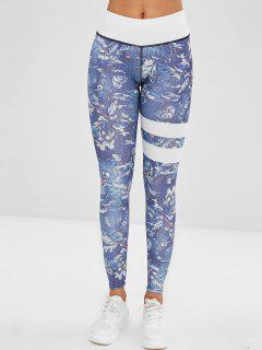 Printed Striped Layering Leggings - Multi-a S