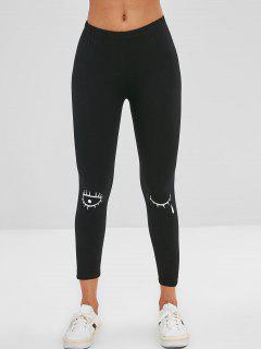Graphic Layering Leggings - Black L