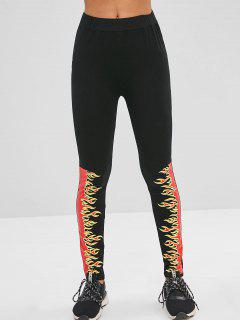 Flame Print Leggings - Black M
