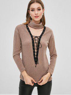Suéter De Punto Con Cuello Alto Con Cordones - Caqui Claro Xl