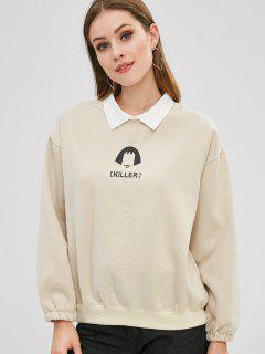 Letter Drop Shoulder Color Block Sweatshirt - Beige