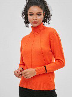 Suéter De Cuello Alto De Color Jersey Con Cuello Alto - Naranja De Calabaza