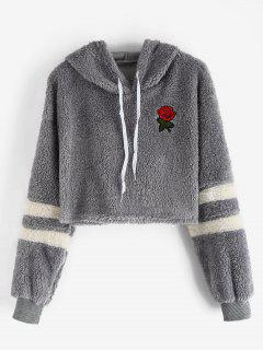 Rose Applique Plush Cropped Hoodie - Blue Gray S