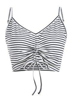 ZAFUL Cami Cinched Stripes Tank Top - Blanco M