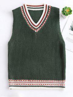 Contraste Cuello En V Chaleco De Ajuste Suéter - Verde Oscuro