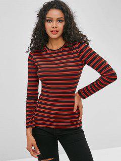 T-shirt Maigre Rayé à Manches Longues - Châtaigne Rouge Xl