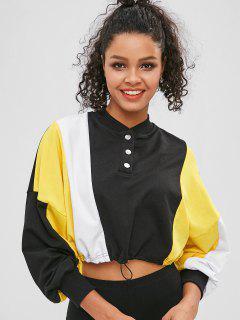 Color Block Drawcord Cropped Sweatshirt - Black M