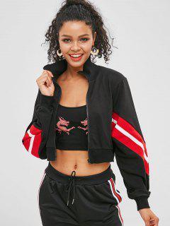 Zip Up Striped Cropped Sweatshirt - Black S