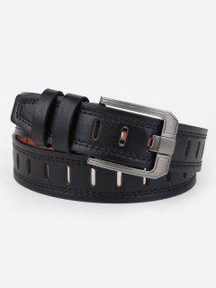 Retro Hollow Out Faux Leather Waist Belt - Black