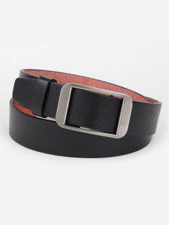 Silver Rectangle Buckle Artificial Leather Belt - Black