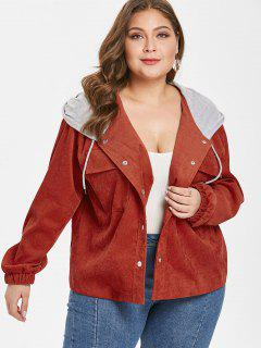 Hooded Plus Size Corduroy Jacket - Brown 3x