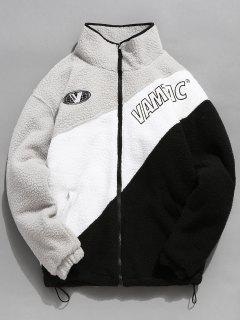 Letter Embroidery Color Block Lamb Down Coat - Platinum L