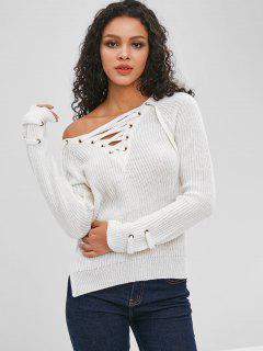 Suéter De Corte Lateral Liso Con Cordones - Blanco S