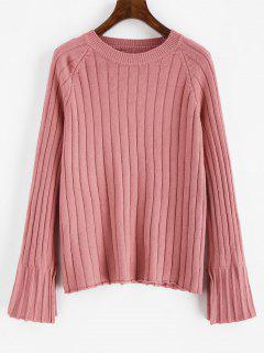Solid Color Raglan Sleeves Sweater - Pink