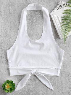 Halter Cropped Knotted Tank Top - White S