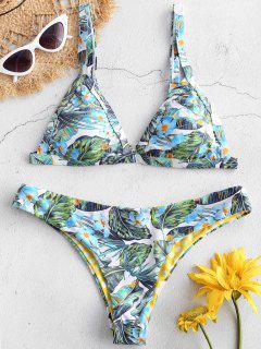 ZAFUL Flower Leaf Bikini Set - Multi-a L