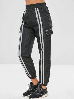 Stripe Swishy Joggers Track Pants - Black S