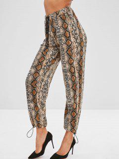 Pantalon De Jogging Serpent Imprimé à Taille Haute - Multi M