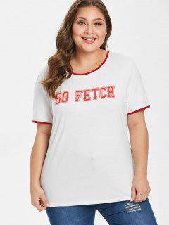 Contrasting Trim Graphic Plus Size T-shirt - White 3x