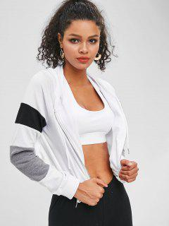 Color Block Zip Up Cropped Terry Hoodie - White L