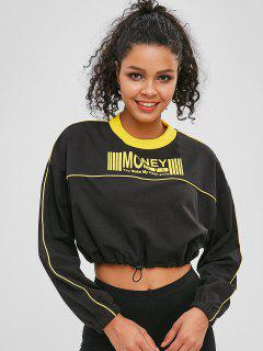 Drawcord Contrast Graphic Cropped Sweatshirt - Black M