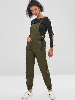 Patch Pockets Buckled Joggers Overalls - Army Green M