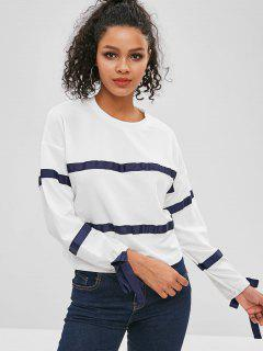 Ribbons Patch Long Sleeve Top - White M