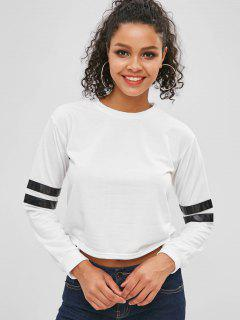 Cropped Striped Sleeve Sweatshirt - White L