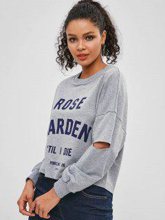 Letter Drop Shoulder Elbow Cut Sweatshirt - Gray Cloud M