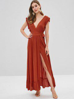 Ruffles Wrap Maxi Dress - Orange Salmon M