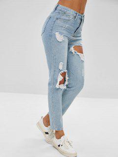 Ripped Cut Out Pencil Jeans - Jeans Blue L
