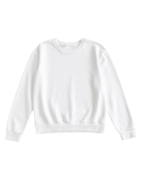 ZAFUL Pullover Drop Schulter Sport Sweatshirt - Milchweiß M Mobile