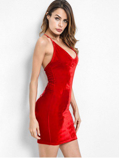 ladies Criss Cross Bodycon Velvet Cami Dress - LAVA RED S Mobile