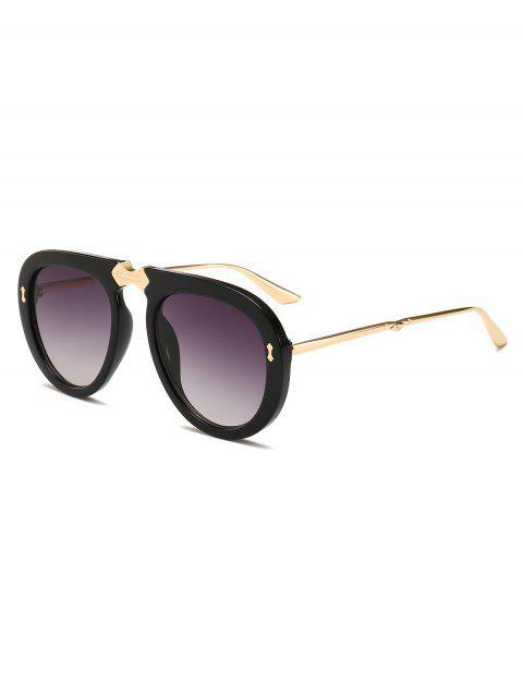 best Retro Alloy Frame Holiday Sunglasses - BLACK  Mobile