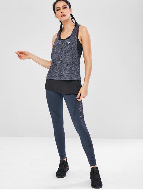 Racerback geschichtetes Yoga-Trägershirt - Blaugrau L Mobile