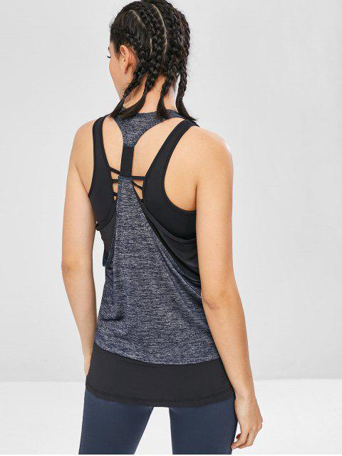 Racerback geschichtetes Yoga-Trägershirt - Blaugrau XL Mobile
