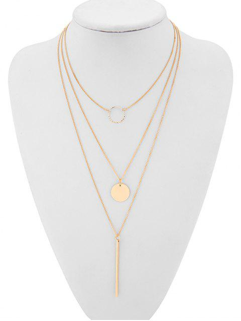 unique Geometric Layered Ring Pattern Sweater Necklace - GOLD  Mobile