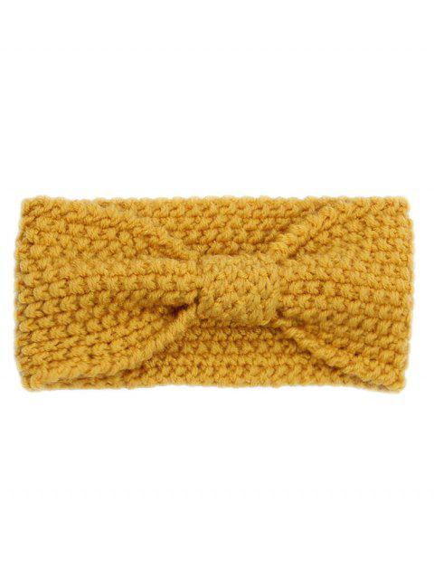 fancy Winter Bowknot Solid Color Knitted Headband - SUN YELLOW REGULAR Mobile