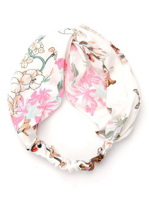 ladies Flourishing Floral Elastic Hairband - WHITE  Mobile