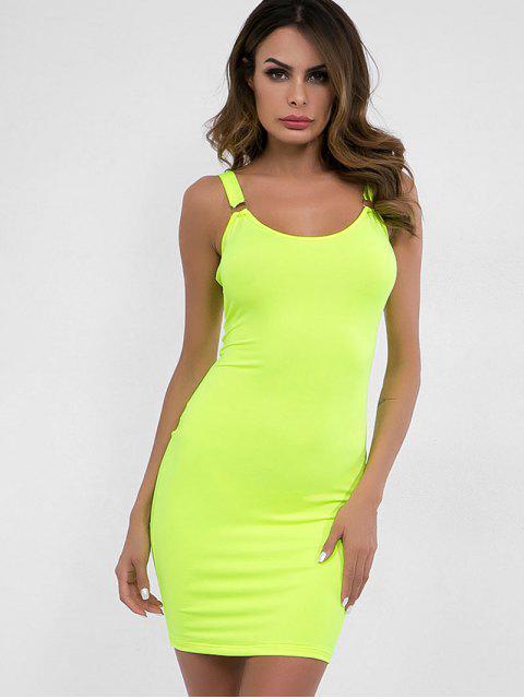 Vestido ajustado liso con cuello en U - Té Verde M Mobile