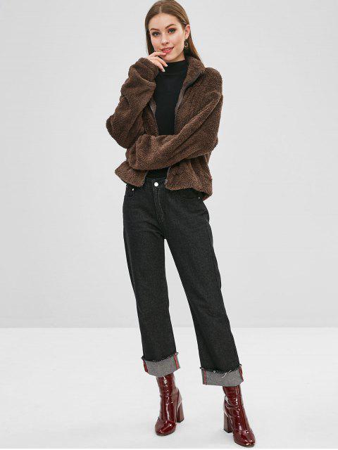 ZAFUL Fluffy Drop Shoulder Zipper Teddy Jacket - Kaffee L Mobile