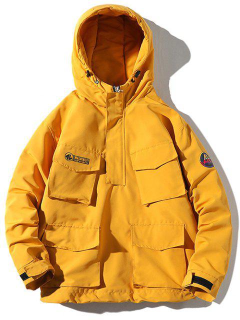 Manteau Doudoune Matelassé Applique à Capuche - Jaune 2XL Mobile