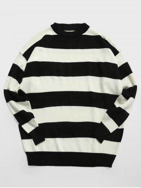 women Contrast Stripe Crewneck Knit Sweater - BLACK 2XL Mobile