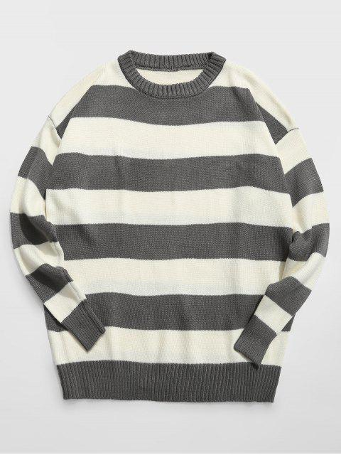 online Contrast Stripe Crewneck Knit Sweater - ASH GRAY XL Mobile