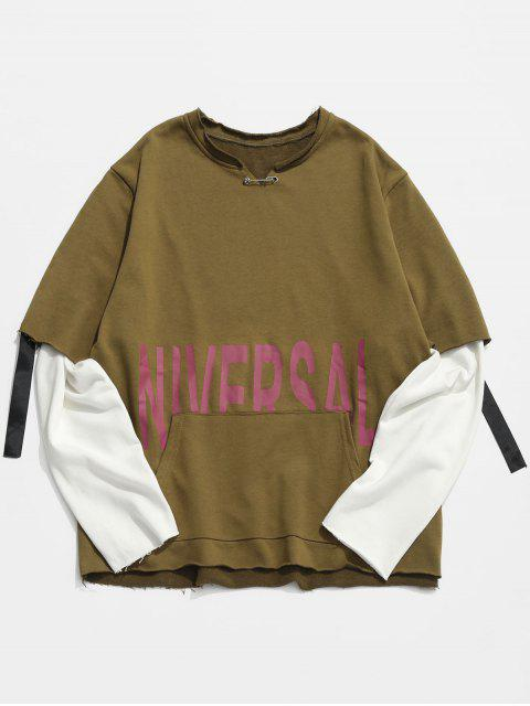 lady Raw Edge Letter False Two Piece Sweatshirt - WOOD XL Mobile