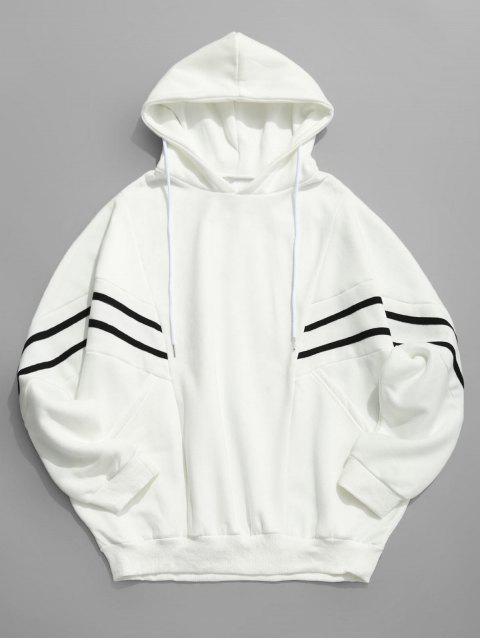 shops Contrast Stripe Patchwork Loose Fleece Hoodie - WHITE L Mobile