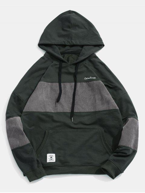 Cord Patchwork Panel Hoodie - Schwarz 3XL Mobile