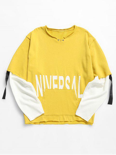 latest Raw Edge Letter False Two Piece Sweatshirt - YELLOW M Mobile