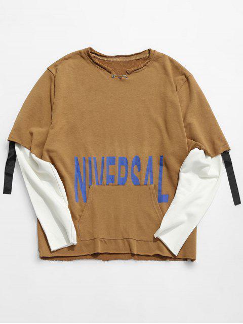 Raw Edge Letter falsch zweiteiliges Sweatshirt - Khaki XL  Mobile