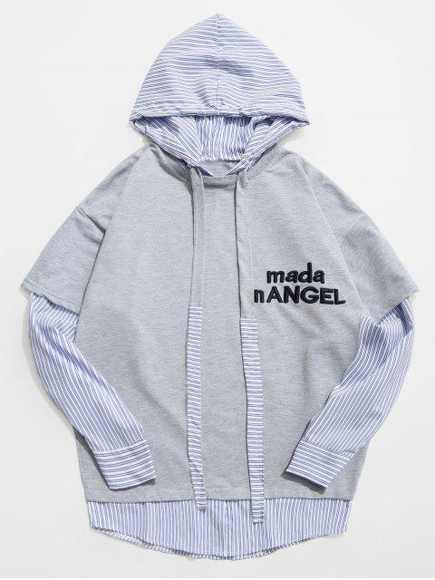 chic Stripe Embroidery False Two Piece Hoodie - LIGHT GRAY 2XL Mobile